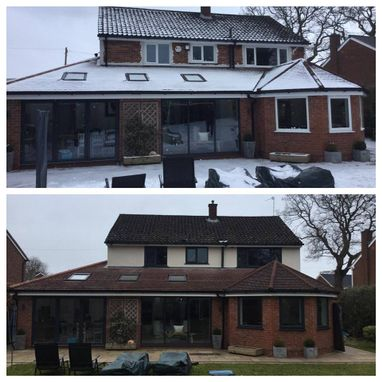 A before and after photograph of a customers house.