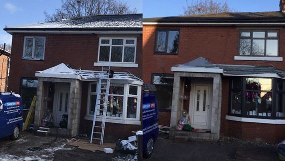A before and after photograph of a customers windows and doors.