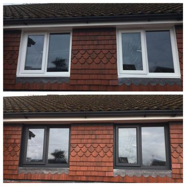 A before and after photograph of a customers windows.